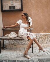 top,puffed sleeves,white top,midi skirt,white skirt,floral midi skirt,sandal heels,bag