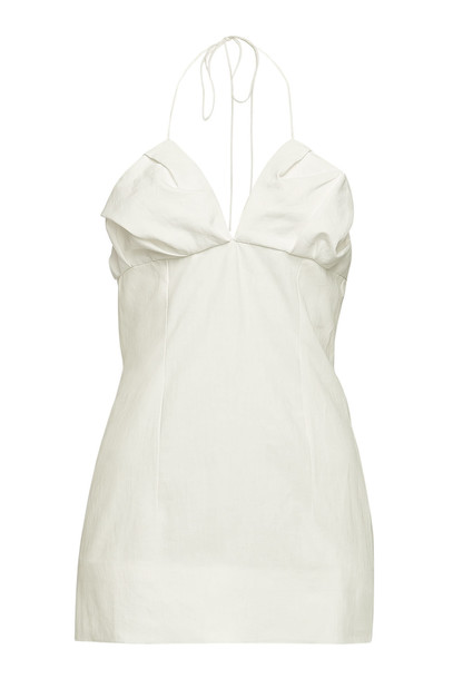 Jacquemus La Robe Bambino Linen Mini Dress  in white