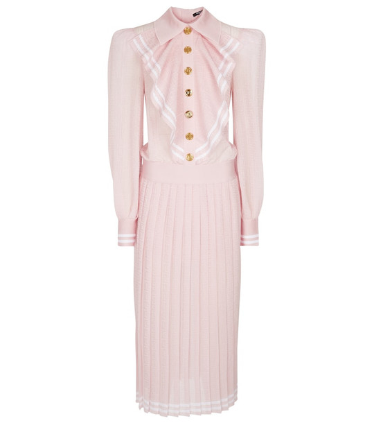 Balmain Pleated stretch-knit midi dress in pink