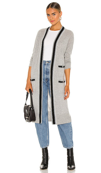 Autumn Cashmere Banded Stripe Cardigan in Grey in black