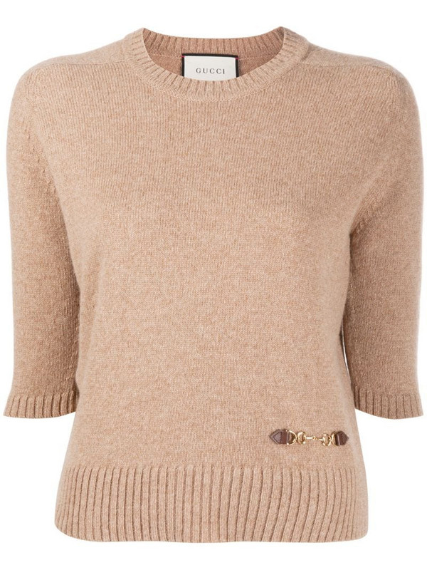 Gucci Horsebit-embellished knitted top in neutrals