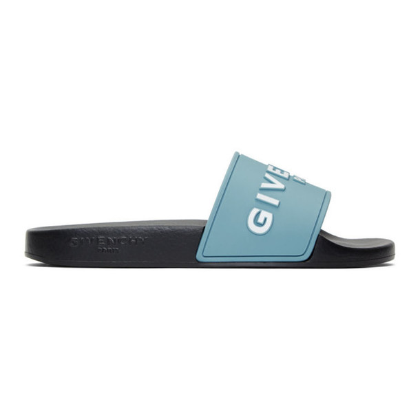 Givenchy Blue and Black Logo Pool Slides
