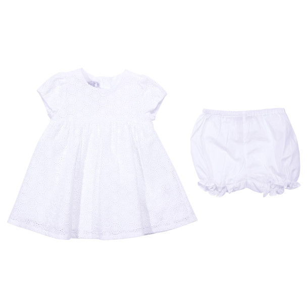 Baby Dior White Broiderie Anglaise Dress & Diaper Cover