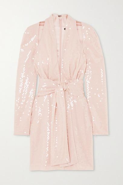 TOM FORD - Belted Sequined Crepe De Chine Halterneck Mini Dress - Blush