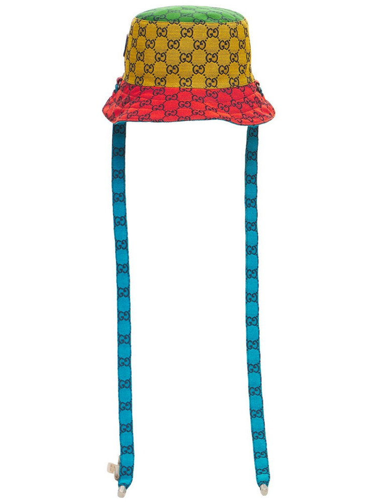 GUCCI Gg Multicolor Reversible Bucket Hat in blue / yellow