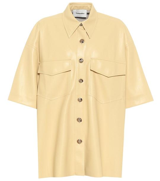 Nanushka Roque faux leather shirt in yellow