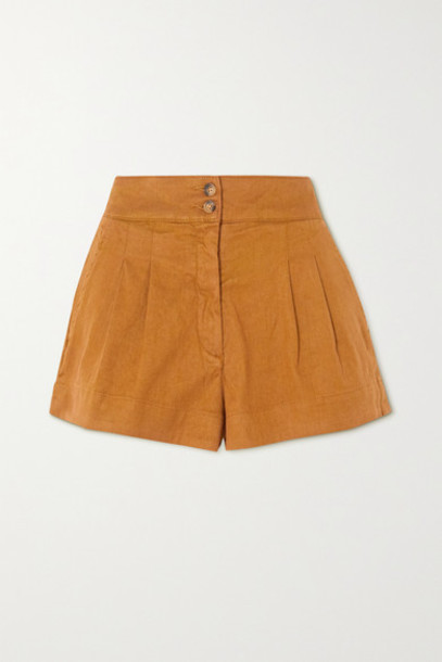 Vanessa Bruno - Nessa Stretch-linen And Cotton-blend Shorts - Tan