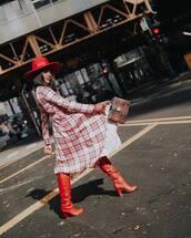 dress,plaid dress,midi dress,knee high boots,red boots,handbag,felt hat,river island