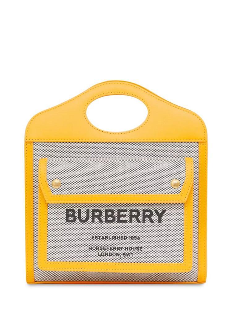 BURBERRY Mini Logo Canvas & Leather Tote Bag in black / saffron