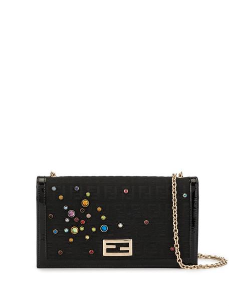 Fendi Pre-Owned embellished Zucca wallet purse in black