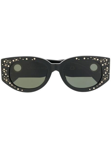 Linda Farrow star print oval sunglasses in black