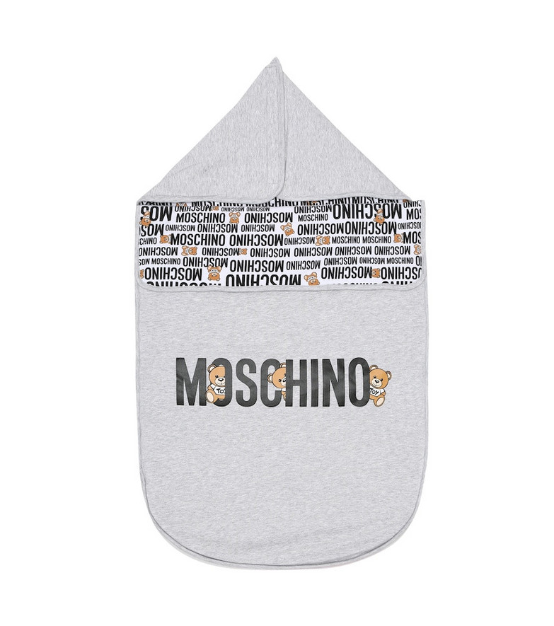 Moschino Kids Baby stretch-cotton bunting bag in grey