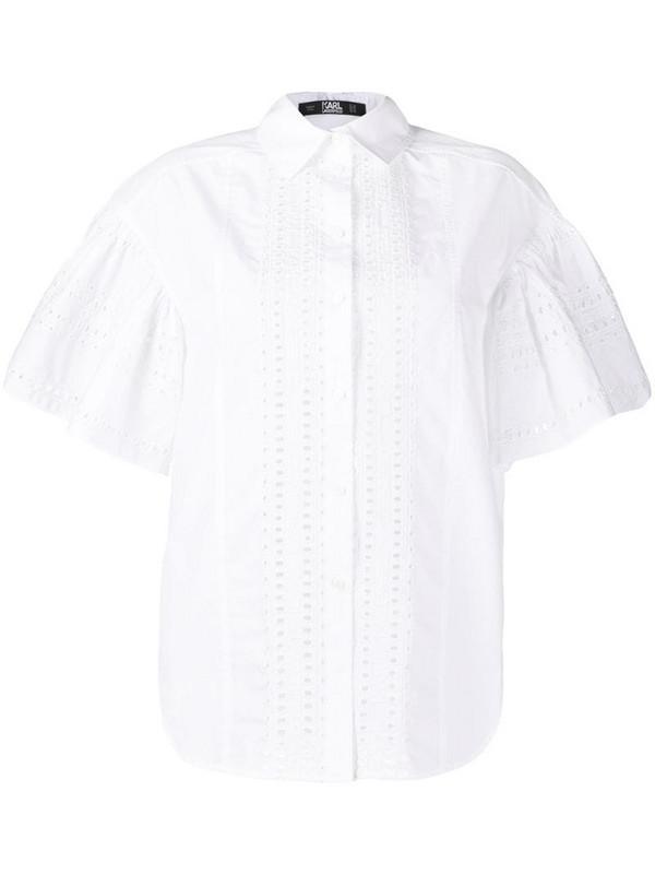 Karl Lagerfeld embroidered poplin shirt in white