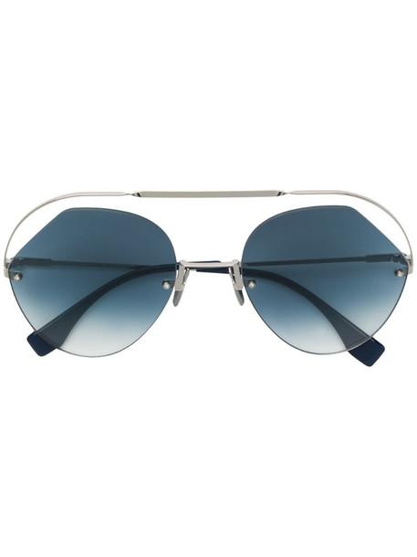 Fendi Eyewear round aviator sunglasses in silver