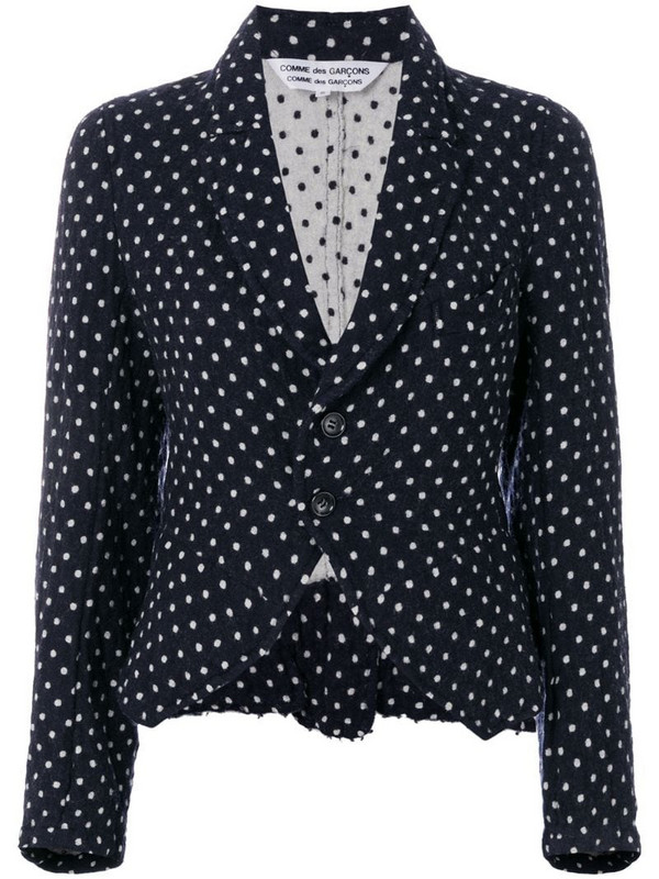 Comme Des Garçons Pre-Owned polka dots fitted jacket in blue