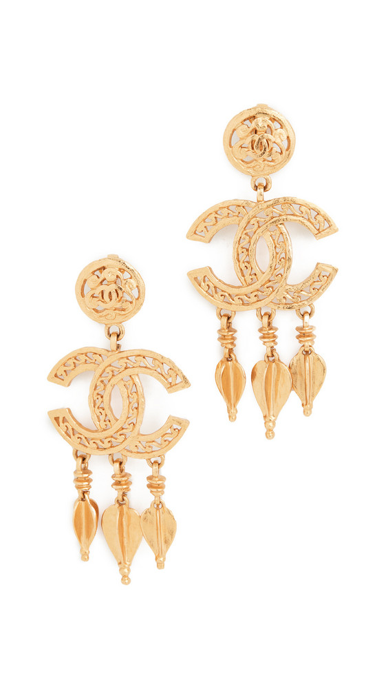 What Goes Around Comes Around Chanel Fretwork Dangle Earrings in gold / yellow