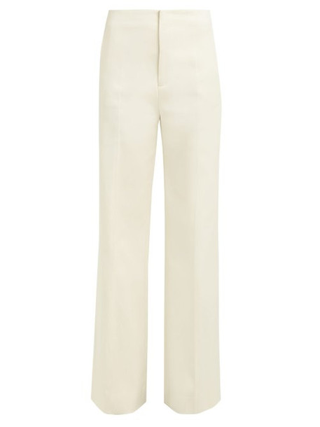 Joseph - Kirk Wide Leg Cotton Blend Trousers - Womens - Ivory