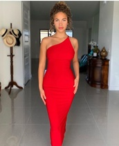dress,red,one shoulder,tight