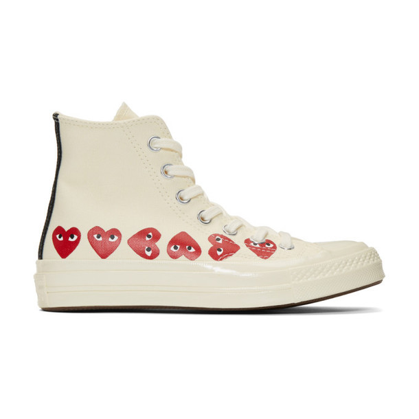 Comme des Garçons Play Off-White Converse Edition Multiple Hearts Chuck 70 High Sneakers