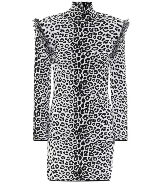 Dundas Leopard-print wool and cashmere dress in grey