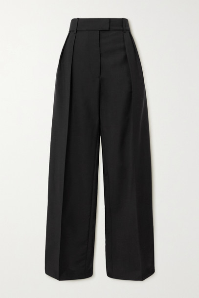 VALENTINO - Pleated Mohair And Wool-blend Wide-leg Pants - Black