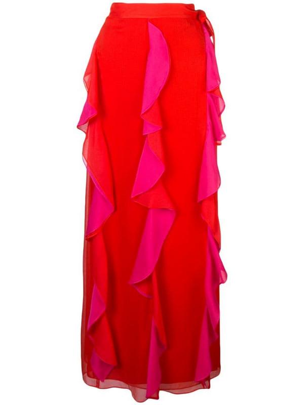 DVF Diane von Furstenberg ruffle maxi skirt in pink