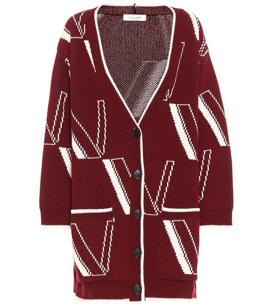 Valentino Logo wool-blend cardigan in red