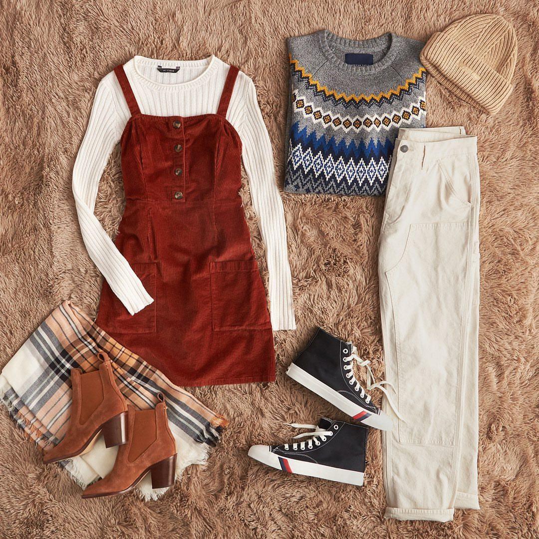 scarf pants sweater dress