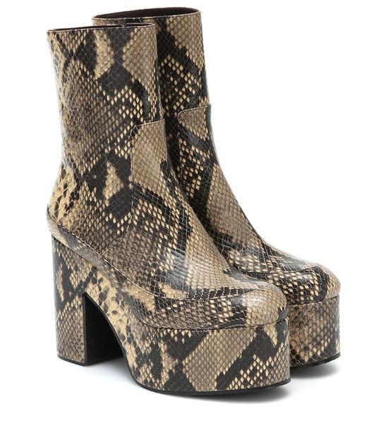Dries Van Noten Snake-effect leather platform boots in beige ...