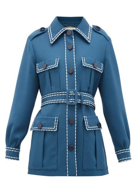 Fendi - Belted Wool-gabardine Jacket - Womens - Blue Multi