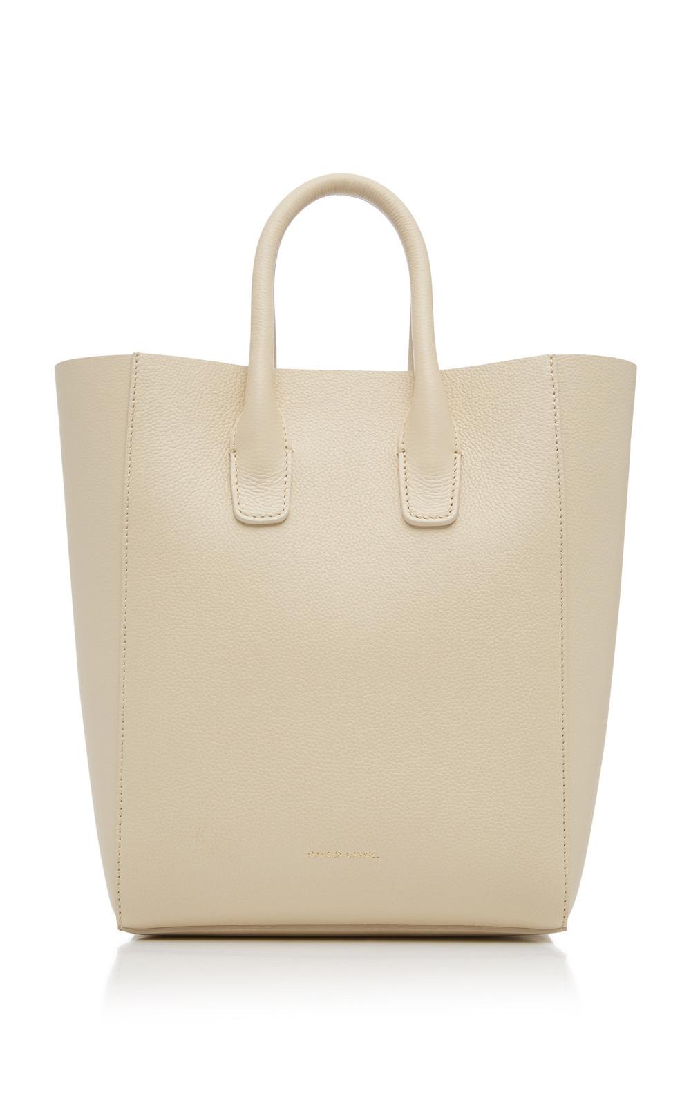 Mansur Gavriel NS Mini Pebble-Grain Leather Tote in white