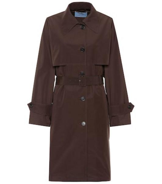 Prada Technical poplin coat in brown