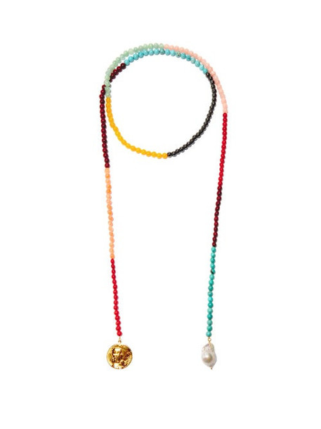Timeless Pearly - Pearl & 24kt Gold-plated Beaded Pendant Necklace - Womens - Multi