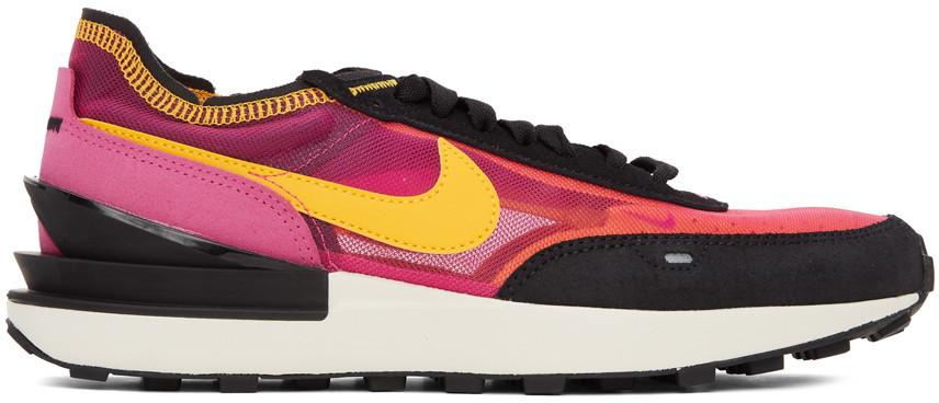 Nike Pink & Black Waffle One Sneakers in fuchsia