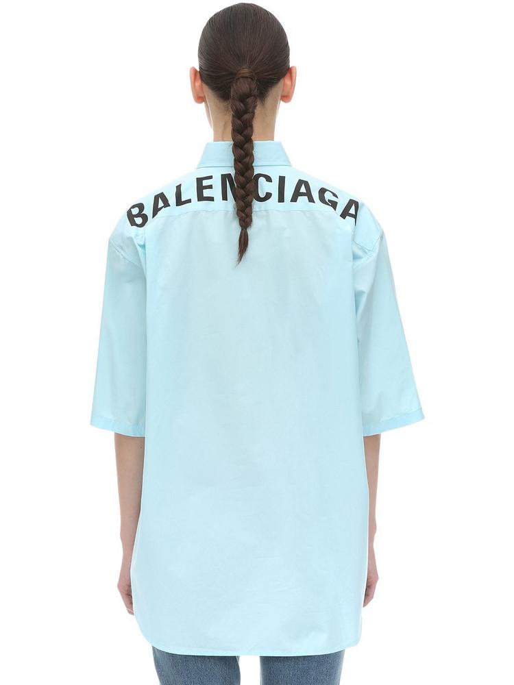 BALENCIAGA Back Logo Cotton Poplin Shirt in blue