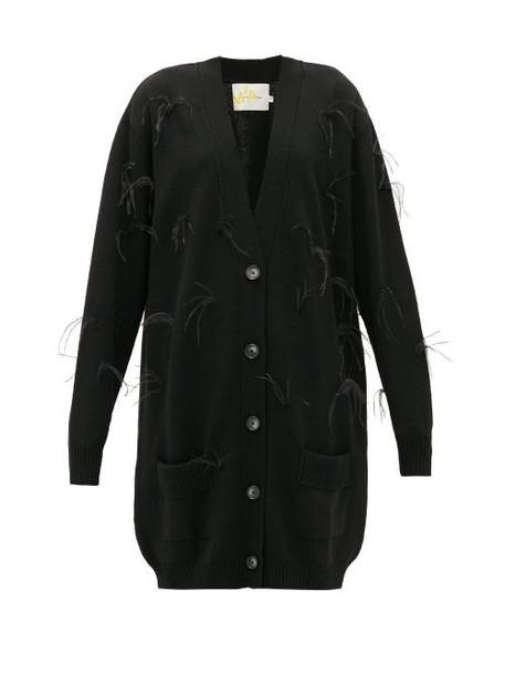 Marques'almeida - Oversized Feather-trimmed Wool Cardigan - Womens - Black