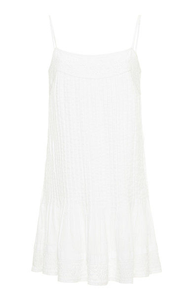 Juliet Dunn Pintuck Embroidered Cotton Cami Dress in white