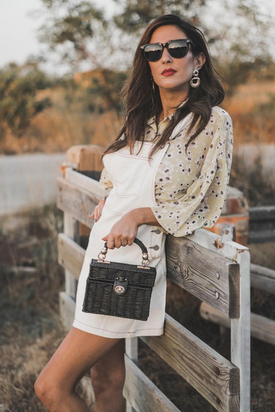 shoes and basics blogger blouse bag shoes sunglasses dungarees summer outfits