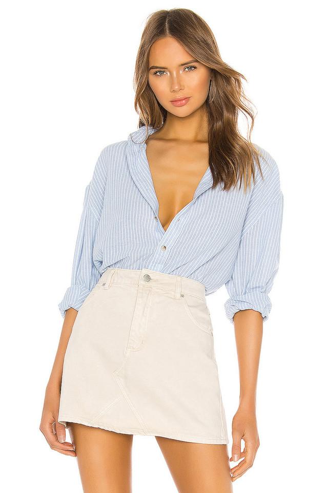 ROLLA'S Slouch Stripe Shirt in blue