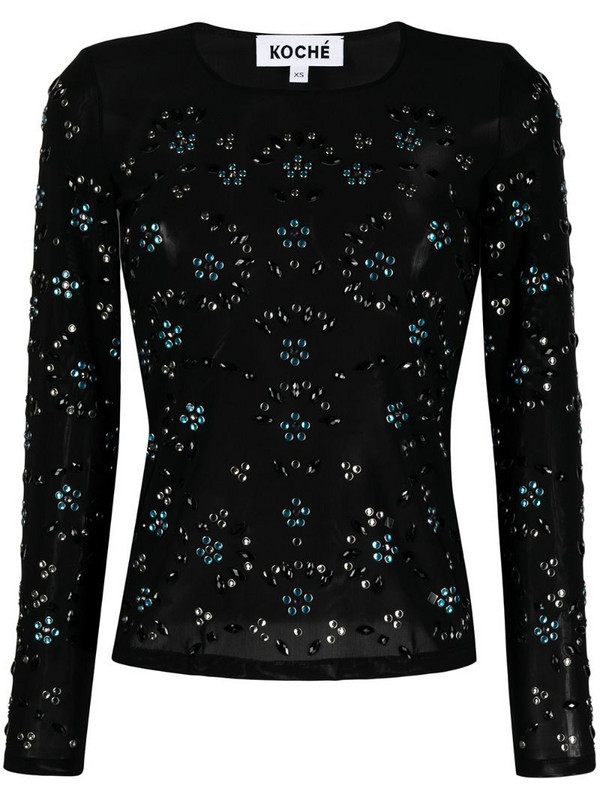 Koché sequin-embellished long sleeved top in black