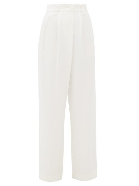 Brunello Cucinelli - Pleated High Rise Crepe Wide Leg Trousers - Womens - Ivory