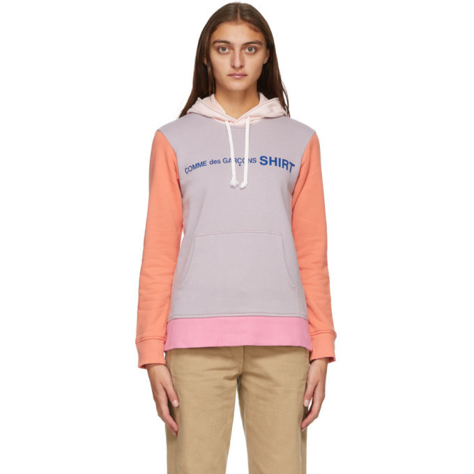Comme des Garcons Shirt Purple and Orange Colorblock Front Logo Hoodie in pink