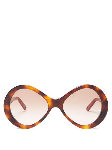 Chloé Chloé - Bonnie Oversized Round Frame Acetate Sunglasses - Womens - Tortoiseshell
