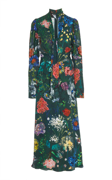 Lela Rose Floral-Print Tie-Detailed Crepe Dress Size: 4 in multi