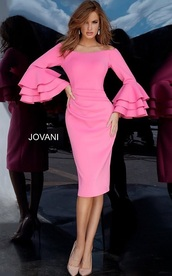 dress,bright pink off shoulder long sleeve sleeve dress