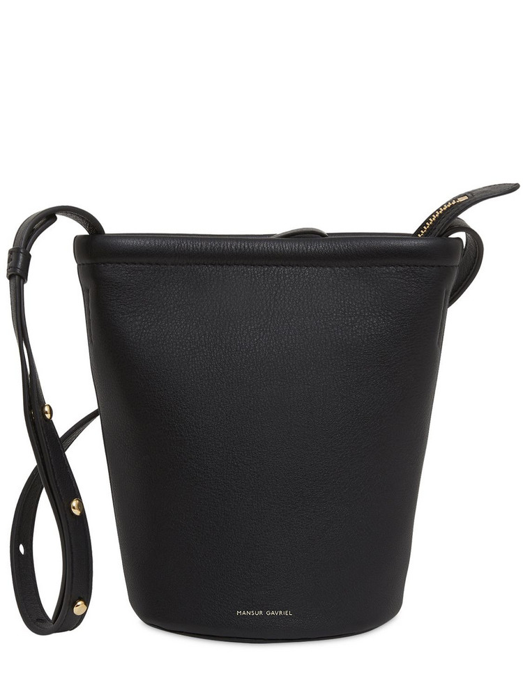 MANSUR GAVRIEL Mini Leather Zip Bucket Bag in black