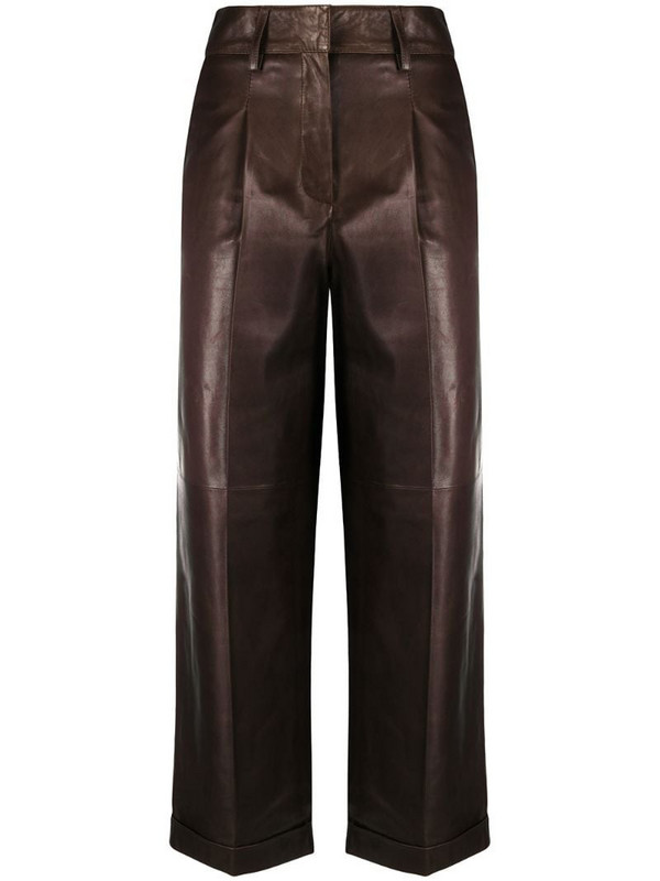 Arma cropped biker trousers in brown