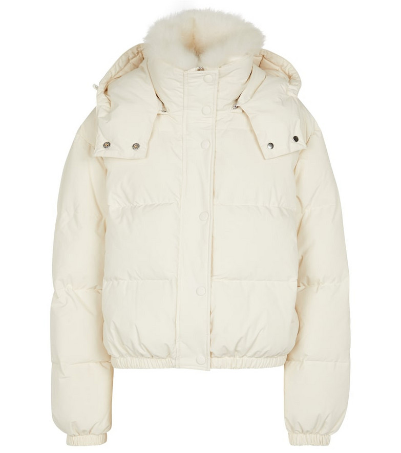Yves Salomon Shearling-trimmed down jacket in white