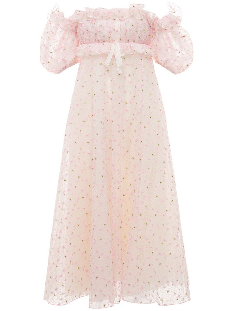 GIAMBATTISTA VALLI Floral Embroidered Tulle Long Dress in pink