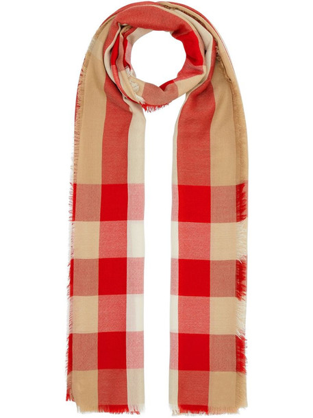 Burberry check-print cashmere scarf in red